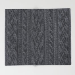 Charcoal Cable Knit Throw Blanket
