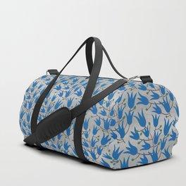 Blue Bell Flowers on Silver Background – Blue Bell – Scandinavian Folk Art Duffle Bag