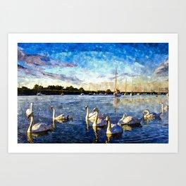 Serene Swans Watercolor  Art Print