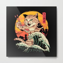 Neko Sushi Wave Metal Print