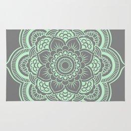 Mandala Flower Gray & Mint Rug