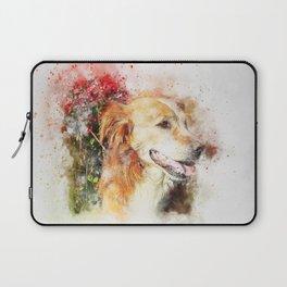 Dog sitting animal art abstract Laptop Sleeve