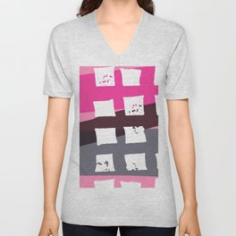 Abstract Geometrical Pink Gray Stripes White Squares Unisex V-Neck