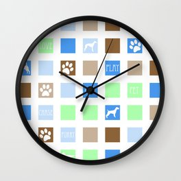 Fun Dog Tiles Pattern Wall Clock