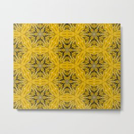 Black and yellow star ornament Metal Print