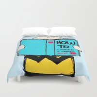 peanuts Duvet Covers featuring How to conquer a woman's heart by Alexandre Reis