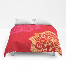 Happy bright lace flower - red Comforters
