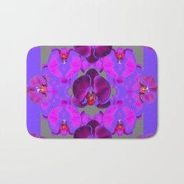 Modern  Abstracted Dark Purple Moth Orchids  Lavender Art Bath Mat