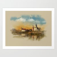The Church of Elijah the prophet on mount Ivan in Suzdal. Evening landscape. The Golden Ring Of Russ Art Print