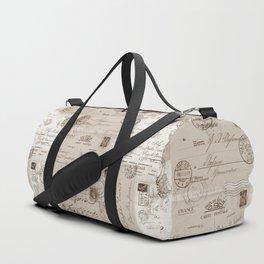 Old Letters Vintage Collage Duffle Bag