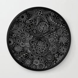 Black Doodle Pattern Wall Clock