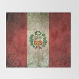 Old and Worn Distressed Vintage Flag of Peru Throw Blanket