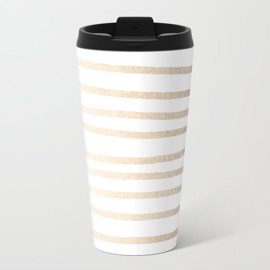 Simply Drawn Stripes in White Gold Sands Metal Travel Mug