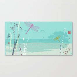 Flying Dragonflies In Pastel Turquoise and Pink Canvas Print