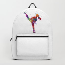 Karate Girl Colorful Watercolor Martial Arts Gift Backpack
