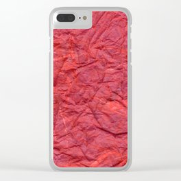 Red Crumpled Paper with Purple Blue Clear iPhone Case