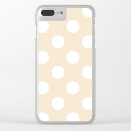 Large Polka Dots - White on Champagne Orange Clear iPhone Case