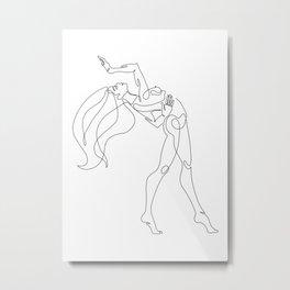 Minimal one line art poster of dancer Metal Print