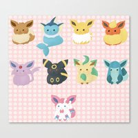 eevee Canvas Prints featuring Eevee Evolutions by Nozubozu
