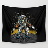 texas Wall Tapestries featuring Texas Chainsaw Astronaut by Nick Volkert