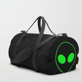 Bright Neon Green Alien Head on Black Duffle Bag