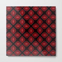 Bold Red and Black Petal Diamond Pattern Metal Print