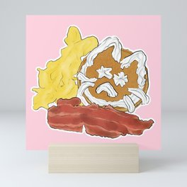 Cat Pancakes Breakfast with Bacon and Eggs Mini Art Print