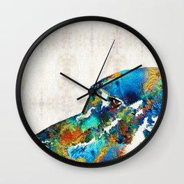 Colorful Dog Art - Loving Eyes - By Sharon Cummings  Wall Clock