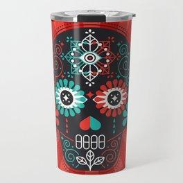Día de Muertos Calavera • Mexican Sugar Skull – Black & Turquoise on Red Starburst Travel Mug