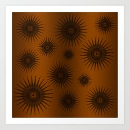 Caramel & Chocolate Star Bursts Art Print