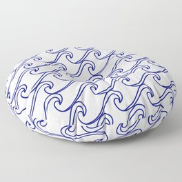 Rough Sea Pattern - blue on white Floor Pillow