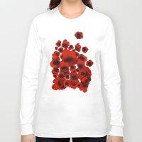 poppies Long Sleeve T-shirts featuring Poppies by Marina Kanavaki