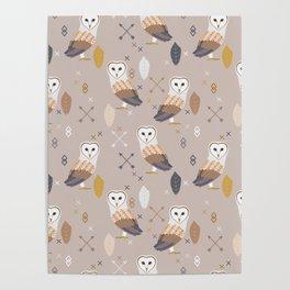 Barn Owls Tribal Pattern Poster