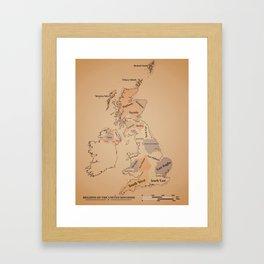 Regions of the United Kingdom vintage map Framed Art Print