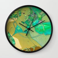 loish Wall Clocks featuring Pet Fish by loish