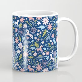 Dinosaur + Unicorn on Royal Blue Coffee Mug