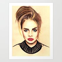 cara Art Prints featuring Cara. by Annie Mae Herring