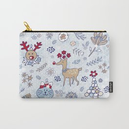 bright blue winter floral pattern Carry-All Pouch