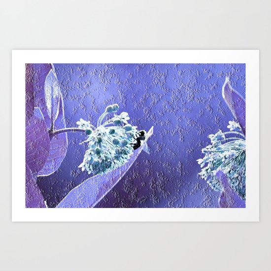 Blooming in the sky (blue-purple granite) Art Print