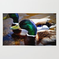 ducks Area & Throw Rugs featuring ducks by  Agostino Lo Coco