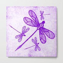Beautiful abstract dragonflies in purple Metal Print