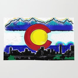 Denver Colorado artistic skyline art Rug