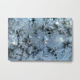 Frosty pattern on glass. Metal Print