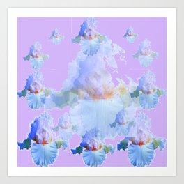 PURPLE IRIS BLUISH IRIS GARDEN MIRAGE  ABSTRACT Art Print