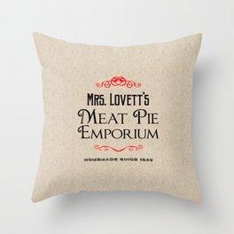 Mrs. Lovett's Meat Pie Emporium (Sweeney Todd) Throw Pillow
