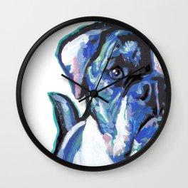 American Bulldog Pop Art by Lea Wall Clock