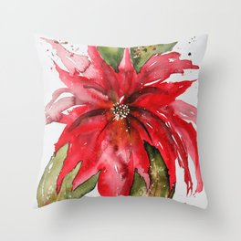 Bright Red Poinsettia Watercolor Throw Pillow
