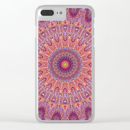 Purple Orange Red Burst Mandala 012018 Clear iPhone Case