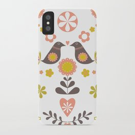 Scandinavian Folk Bird Print  iPhone Case