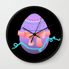 Egg and Pink Bow 02 Wall Clock
